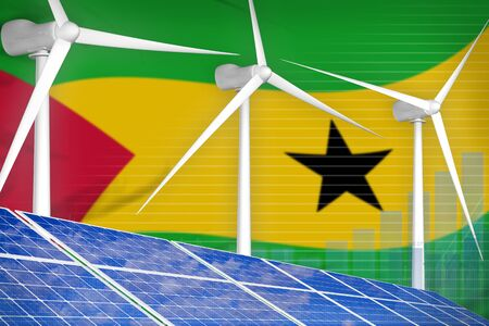Sao Tome and Principe solar and wind energy digital graph concept  - alternative energy industrial illustration. 3D Illustration Banco de Imagens