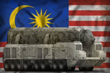 intercontinental ballistic missile with city camouflage on the Malaysia flag background. 3d Illustration Banco de Imagens
