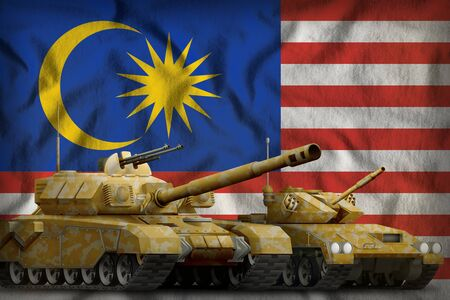 tanks with orange camouflage on the Malaysia flag background. Malaysia tank forces concept. 3d Illustration