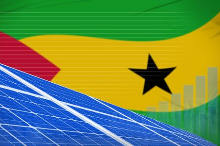 Sao Tome and Principe solar energy power digital graph concept  - modern energy industrial illustration. 3D Illustration Banco de Imagens