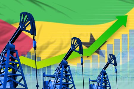 Sao Tome and Principe oil industry concept, industrial illustration - growing graph on Sao Tome and Principe flag background. 3D Illustration