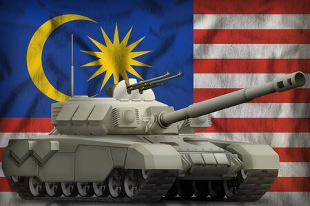 heavy tank on the Malaysia flag background. 3d Illustration