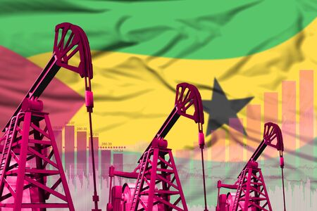 Sao Tome and Principe oil and petrol industry concept, industrial illustration on Sao Tome and Principe flag background. 3D Illustration