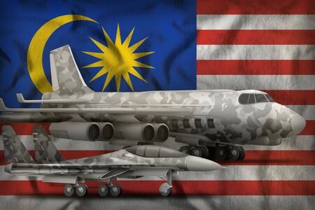 air forces with grey camouflage on the Malaysia flag background. Malaysia air forces concept. 3d Illustration Banco de Imagens