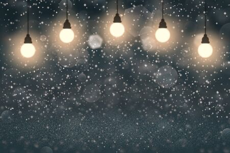 light blue nice glossy abstract background light bulbs with sparks fly defocused bokeh - holiday mockup texture with blank space for your content