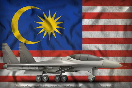 fighter, interceptor on the Malaysia flag background. 3d Illustration