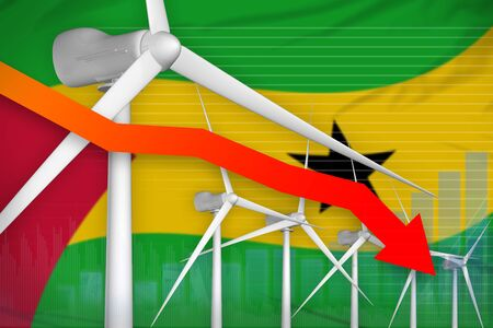 Sao Tome and Principe wind energy power lowering chart, arrow down  - modern energy industrial illustration. 3D Illustration Banco de Imagens