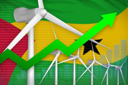 Sao Tome and Principe wind energy power rising chart, arrow up  - renewable energy industrial illustration. 3D Illustration