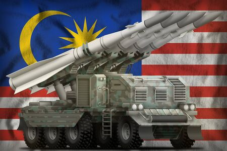 tactical short range ballistic missile with arctic camouflage on the Malaysia flag background. 3d Illustration