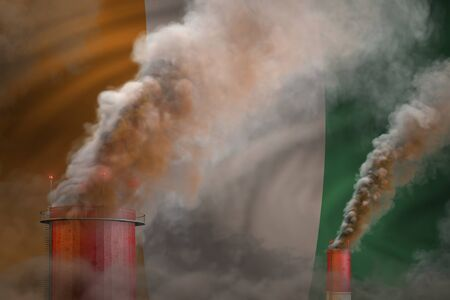Global warming concept - heavy smoke from industrial pipes on Cote d Ivoire flag background with space for your logo - industrial 3D illustration