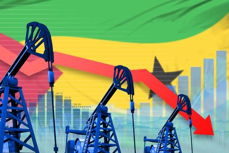 Sao Tome and Principe oil industry concept, industrial illustration - lowering, falling graph on Sao Tome and Principe flag background. 3D Illustration