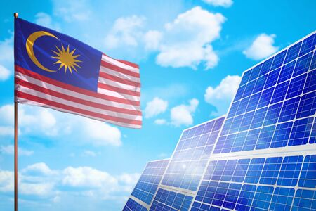 Malaysia alternative energy, solar energy concept with flag - symbol of fight with global warming - industrial illustration, 3D illustration