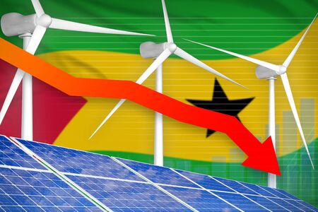 Sao Tome and Principe solar and wind energy lowering chart, arrow down  - environmental energy industrial illustration. 3D Illustration