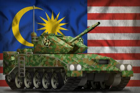 light tank apc with summer camouflage on the Malaysia flag background. 3d Illustration