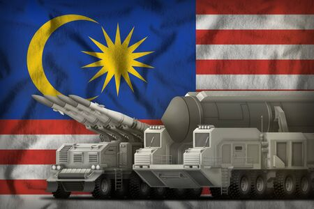 rocket forces on the Malaysia flag background. Malaysia rocket forces concept. 3d Illustration Banco de Imagens