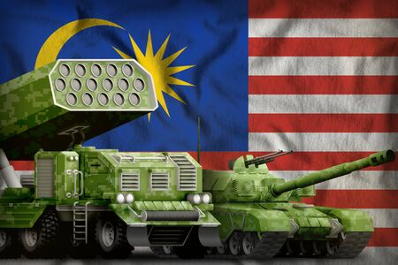 tank and rocket launcher with summer pixel camouflage on the Malaysia flag background. Malaysia heavy military armored vehicles concept. 3d Illustration Banco de Imagens