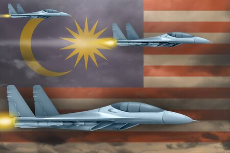 Malaysia air strike concept. Modern war airplanes attack on Malaysia flag background. 3d Illustration