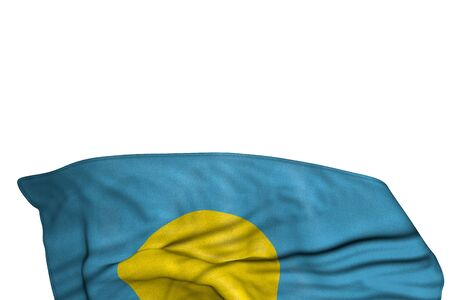 cute any feast flag 3d illustration - Palau flag with big folds lay in the bottom isolated on white