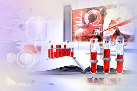 Medical 3D illustration, test tubes vials in university office - blood sample dna test for protein or anemia with creative gradient overlay
