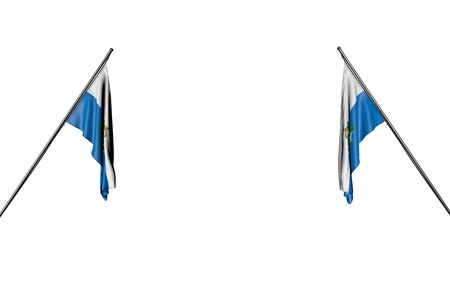 nice labor day flag 3d illustration - two San Marino flags hangs on diagonal poles from two sides isolated on white Foto de archivo