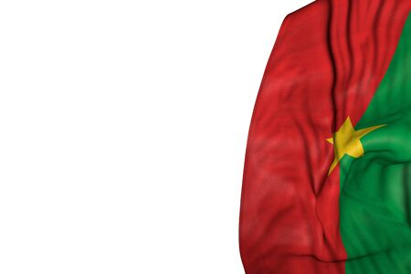 cute national holiday flag 3d illustration - Burkina Faso flag with big folds lay in left side isolated on white