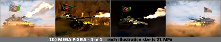 Afghanistan army concept - 4 high detail images of heavy tank with fictive design with Afghanistan flag, military 3D Illustration