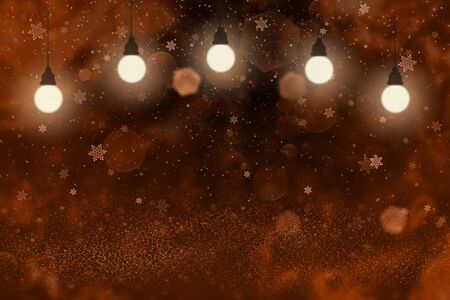 red beautiful shiny abstract background glitter lights with light bulbs and falling snow flakes fly defocused bokeh - celebratory mockup texture with blank space for your content Stock fotó