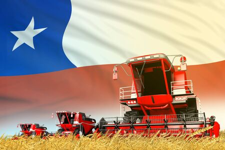 industrial 3D illustration of red grain agricultural combine harvester on field with Chile flag background, food industry concept