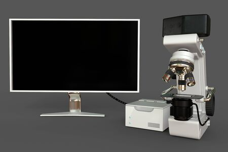 White professional microscope, cpu block and blank monitor isolated, realistic 3d illustration of object with fictive design, biochemistry discovery concept