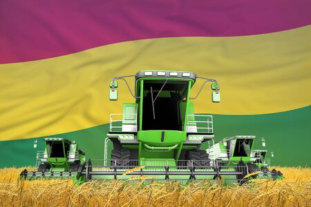 4 light green combine harvesters on wheat field with flag background, Bolivia agriculture concept - industrial 3D illustration