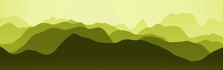 creative yellow wide of mountains slopes in the mist digital art background or texture illustration