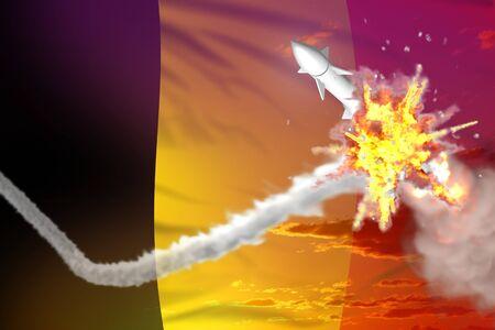 Strategic rocket destroyed in air, Belgium ballistic missile protection concept - missile defense military industrial 3D illustration