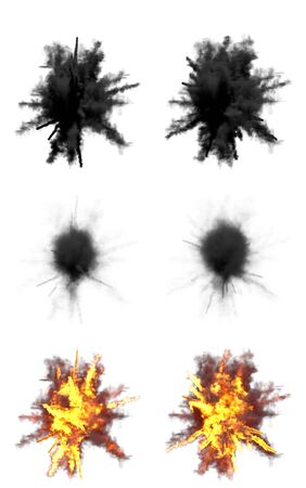 many round explosions of anti air gun shell hit or view from top on bangs or missile interception blast isolated on white - 3D illustration of object