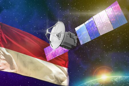 Satellite with Indonesia flag, space communications technology concept - 3D Illustration
