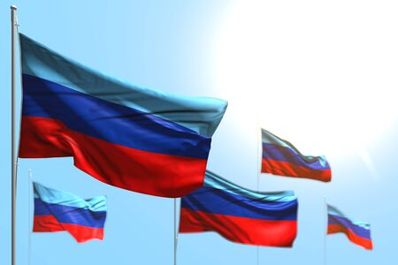 wonderful 5 flags of Luhansk Peoples Republic are wave against blue sky picture with bokeh - any feast flag 3d illustration Stock fotó