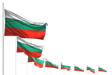 nice Bulgaria isolated flags placed diagonal, picture with selective focus and space for text - any holiday flag 3d illustration