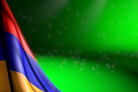 pretty image of Armenia flag hanging in corner on green with soft focus and free place for content - any occasion flag 3d illustration