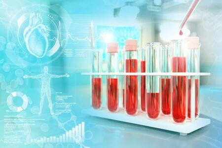 test tubes in chemistry office - blood dna test for blood urea nitrogen or cholesterol, medical 3D illustration with creative overlay