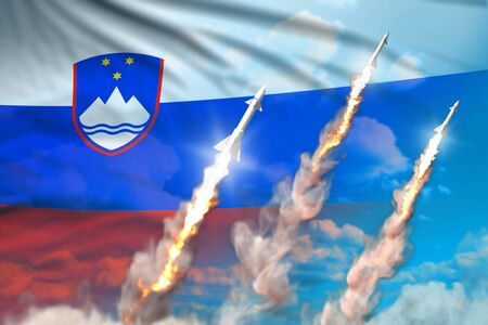 Slovenia ballistic warhead launch - modern strategic nuclear rocket weapons concept on blue sky background, military industrial 3D illustration with flag