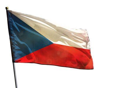 Fluttering Czechia flag isolated on white background.