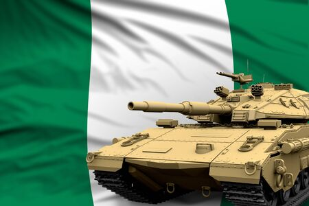 Heavy tank with fictional design on Nigeria flag background - modern tank army forces concept, military 3D Illustration Stock fotó
