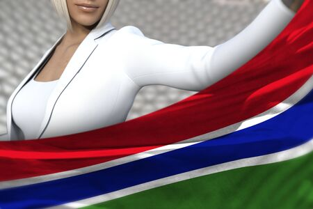 beautiful business woman is holding Gambia flag in front of her on the  modern architecture background - flag concept 3d illustration