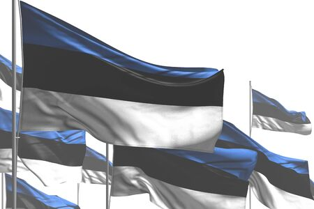 wonderful many Estonia flags are waving isolated on white - any holiday flag 3d illustration Stock fotó