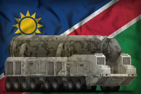 intercontinental ballistic missile with city camouflage on the Namibia flag background. 3d Illustration