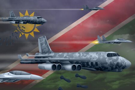 Namibia bomb air strike concept. Modern Namibia war airplanes bombing on flag background. 3d Illustration