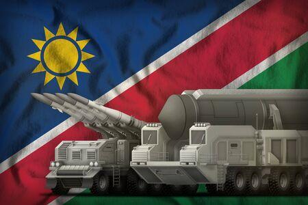 rocket forces on the Namibia flag background. Namibia rocket forces concept. 3d Illustration