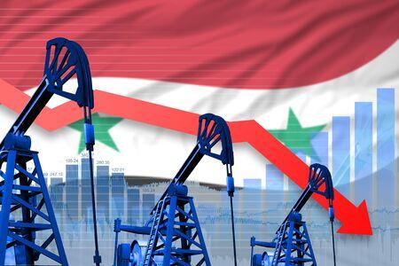 Syrian Arab Republic oil industry concept, industrial illustration - lowering, falling graph on Syrian Arab Republic flag background. 3D Illustration Stock fotó