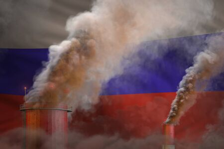 dense smoke of industrial pipes on Russia flag - global warming concept, background with space for your text - industrial 3D illustration