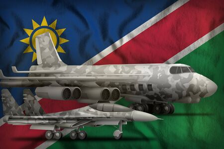 air forces with grey camouflage on the Namibia flag background. Namibia air forces concept. 3d Illustration