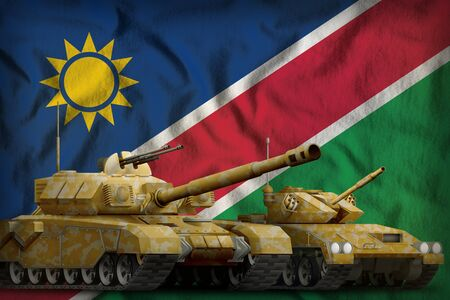 tanks with orange camouflage on the Namibia flag background. Namibia tank forces concept. 3d Illustration Stock fotó